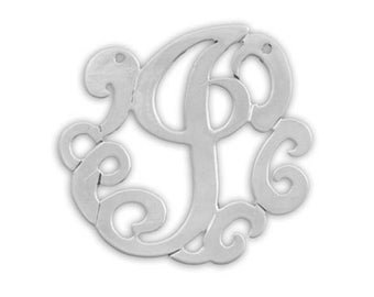 Lace Initial Necklace - sterling silver- choose from 2 styles