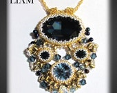 LIAM Swarovski Fancy stone Rivoli and Chattons Beadwork Pendant Tutorial  instructions for personal use only