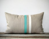 Turquoise and Cream Striped Lumbar Pillow (12x20) Modern Home Decor by JillianReneDecor - Minimal - Mint (More Colors) Pantone Limpet Shell