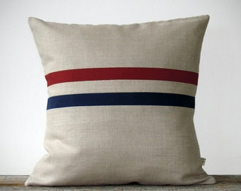 Crimson Red and Navy Striped Pillow - 16x16 - Home Decor by JillianReneDecor - Colorblock Stripes (More Colors)