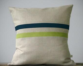 Linden Green and Teal Striped Linen Pillow 16x16 - Fall Home Decor by JillianReneDecor - Fall - Autumn