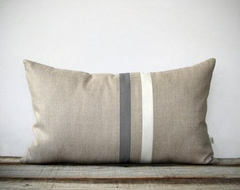 Gray and Cream Striped Pillow (12x20) Modern Home Decor by JillianReneDecor | Minimal | Neutral (More Colors) | Ash Gray