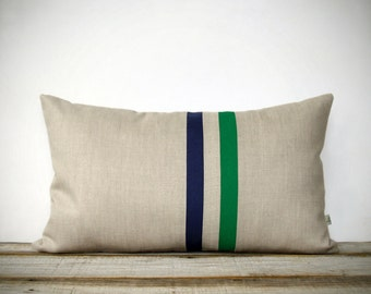 Kelly Green and Navy Striped Pillow - 12x20 - Modern Home Decor by JillianReneDecor - Colorful Colorblock Stripes - Emerald Lumbar Pillow