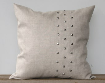 Metallic Silver Studded Pillow Cover in Natural Linen 20x20 by JillianReneDecor | Geometric Pillow | Minimal Home Decor | Stripe Pattern