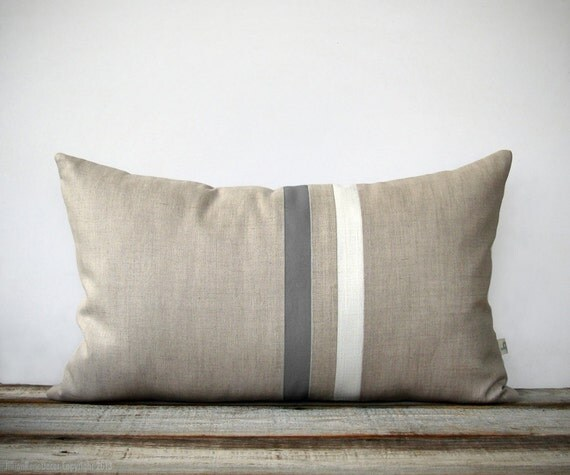 Modern Striped Pillows : Gray and Cream Striped Pillow (12x20) Modern Home Decor by JillianReneDecor Minimal Neutral ...