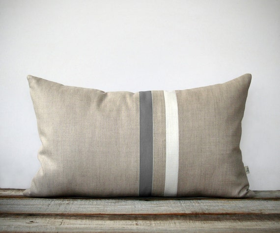 Gray And Cream Striped Pillow 12x20 Modern Home Decor By