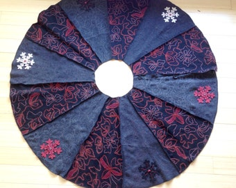 Felted Wool Christmas Tree Skirt in Black, Gray, Red and White-made from recycled sweaters