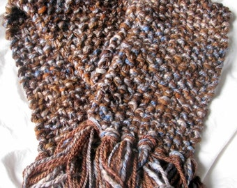 WINTER OFFER - Brown and Pale Blue Dark Umber Hand Knit Soft Warm Woollen Sparkle Scarf