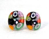 Cufflinks Cuff Links Accessory Millefiori Fused Glass Unisex Handmade Minnesota Artisan Handcrafted Accessory Rich Floral