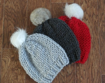You pick the design Slouch Hat Hand knitted in YOUR CHOICE of COLOR and Pom Pom