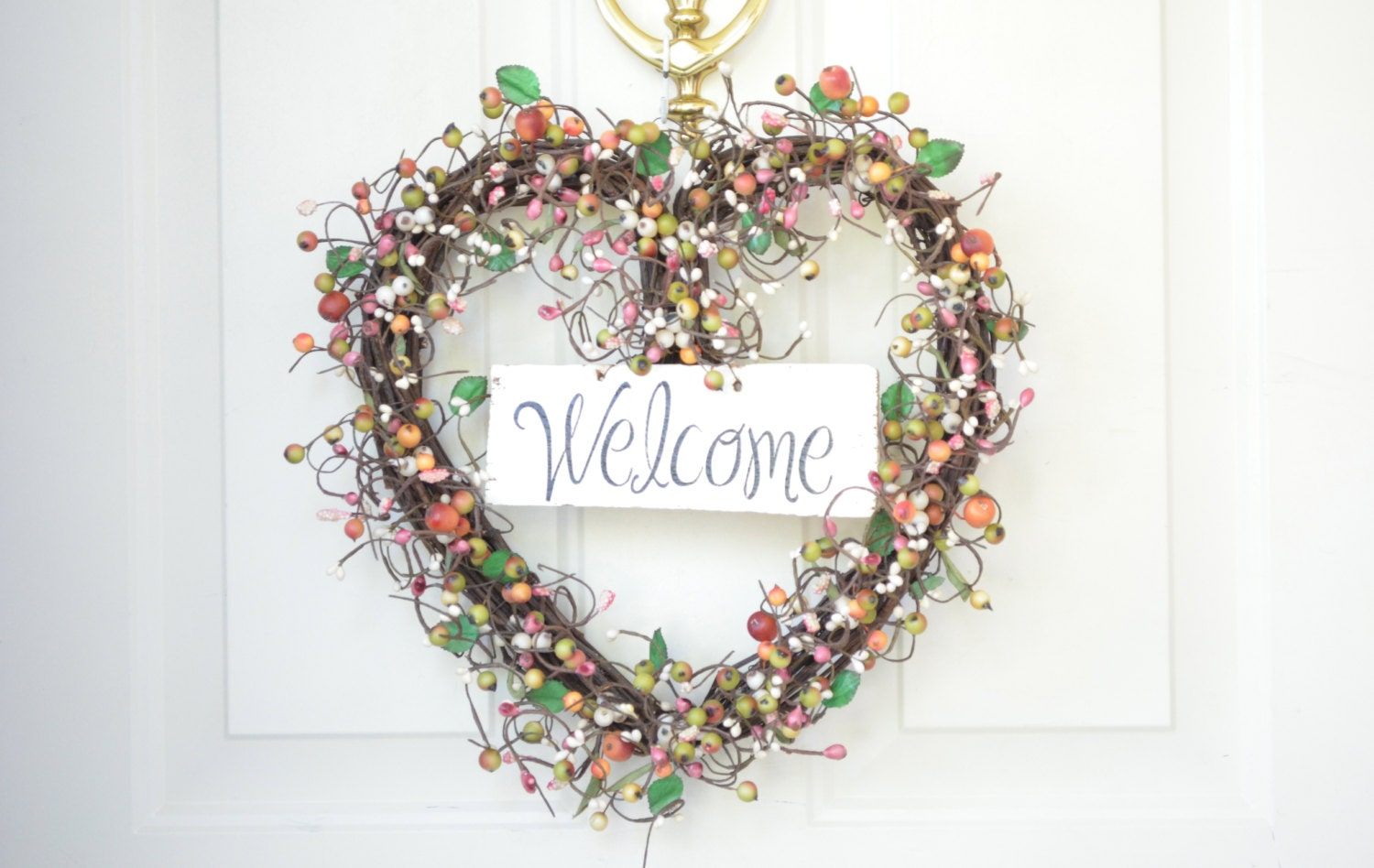 Welcome wreath heart shaped wreath by laurelsbylaurie on etsy