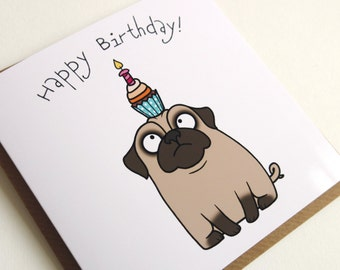 Happy Birthday Confused Pug Cupcake Greeting Card, Birthday Card, Pug Card