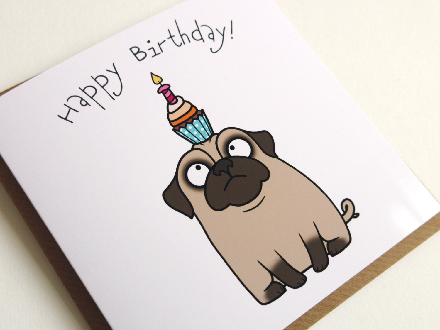 happy birthday confused pug cupcake greeting card, Birthday card