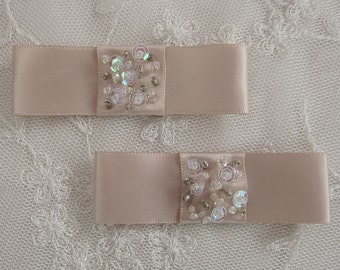 2pc Antique Tan Satin Fabric Ribbon Bow Applique Beaded w Sequins Glass Bead Baby Doll Bridal Corsage
