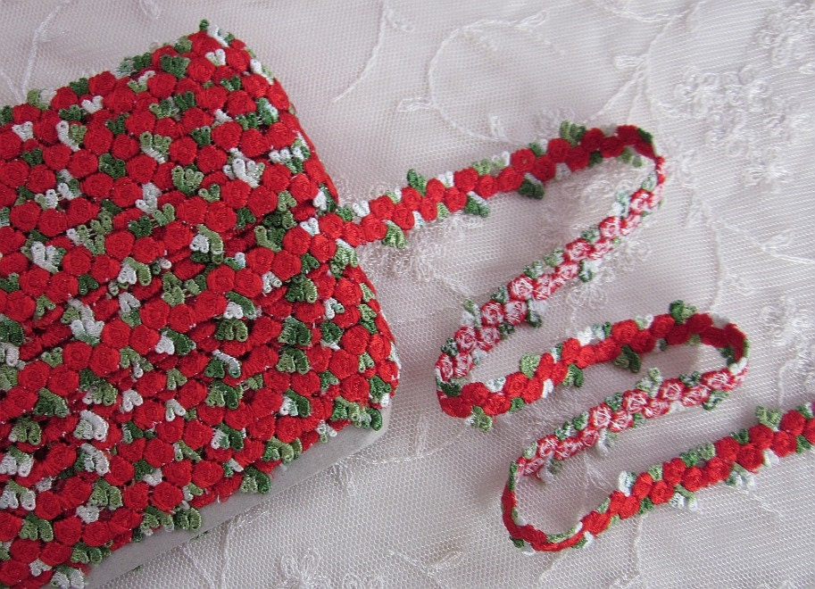Chic red embroidered rose bud flower ribbon trim scrapbook
