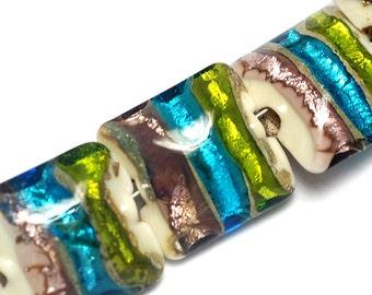 Seven Ivory w/Multi-Color Strips Pillow Beads-10302804-Handmade Glass Lampwork Bead