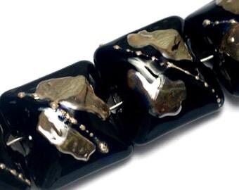 Seven Elegant Black Metallic Pillow Beads -10204104-Handmade Glass Lampwork Bead