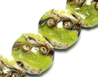 Glass Lampwork Bead Set - Four Lime Stardust Lentil Beads 10505612