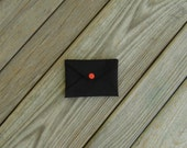 Mini Wallet Card Holder Envelope Black Cordura with Orange Snap