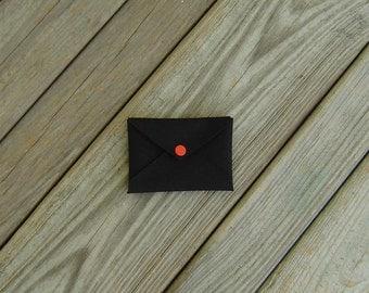 Mini Wallet Card Holder Envelope Black Cordura with Orange Snap