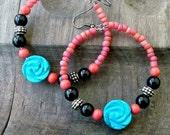 Red & Turquoise Frida Khalo Earrings, Hoop Earrings, Turquoise Earrings, Romantic Rose Earring - stoneandbone