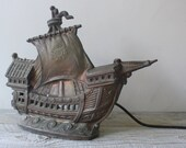 Vintage Cast Aluminum Ship Lamp - Vintage Nautical Lighting - shavingkitsuppplies