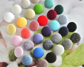Fabric Buttons Red Pink Yellow Blue Green Black White Plain Buttons, Flat Backs, Mini Small Covered Buttons 5's 0.63 Inches CHOOSE COLOR