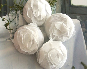 Handmade Victorian Rustic Large Wedding White Floral Flower Lace Fabric Covered Buttons Fridge Magnets, Flat Backs, 1.5 Inches 4's