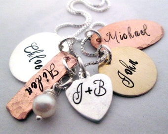 Charming Family - Hand Stamped Jewelry - Personalized Necklace - Family Necklace