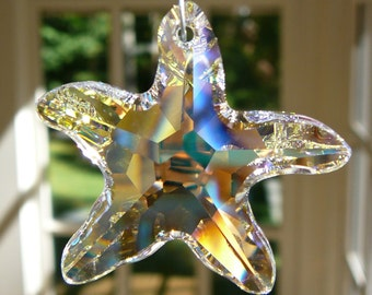 """Crystal Starfish, Swarovski AB Crystals and Pearls, Suncatcher in Ocean Colors, """"SEA STAR"""" - Lightcatcher, 6.5"""" for Car or 10"""" for Home"""