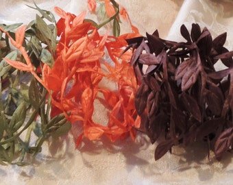 Leaf garland 5 colors 15 yards in Moss, Orange, Gold, Brown and Chili Red - 3 yards each color