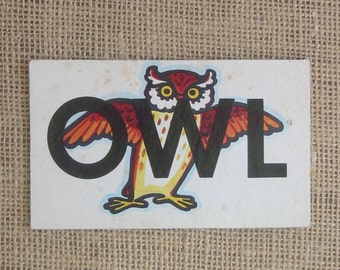 Vintage Flash Card Game Word Owl Child Nursery Decor Ephemera