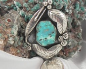 Native American Pawn Turquoise Pendant Brooch