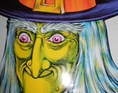 c-1973 The Beistle Co Made in USA Green Faced Pink Eyed Wicked Witch Cardboard Halloween Decoration