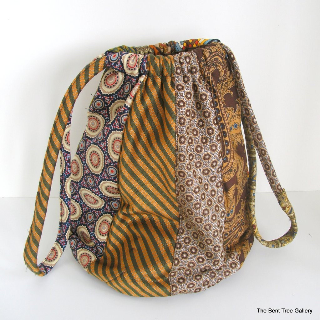 Slouchy Silk Handbag From Recycled Silk Ties OOAK By The Bent