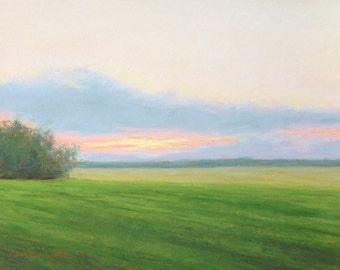 Print - Peaceful Sunset Pastel Painting by Paige Smith-Wyatt  wall art