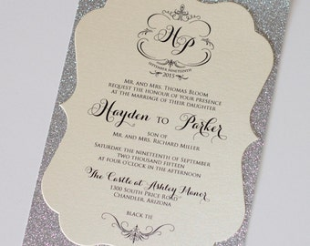 Elegant Wedding Invitation, Vintage Wedding Invitation, Glitter Wedding Invitation - Ivory, Champagne, Silver Glitter - Hayden Sample