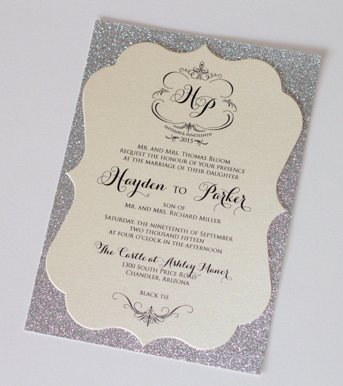 Hayden Die-cut Frame Glitter Wedding Invitation – Sample ...