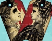 VICTORIANA FATALE Printable Tags Digital Collage Sheet Victorian Gothic Vintage Ladies - no. 0175