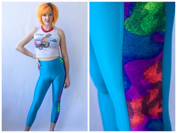 SALE Neon Spandex 80s 90s Leggings / Size XS Extra Small