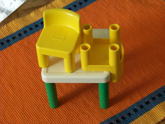 Vintage little tikes dollhouse table and two chairs retro dollhouse