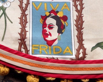 Frida Kahlo Mexican Tablecloth Round Cantina Style Vintage Trim