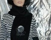 Black Raven Full Moon Embroidered Black Fleece Scarf MTCoffinz