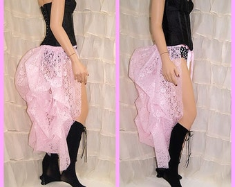 Pastel Baby Pink Lace Bustle Wrap MTCoffinz - All Adult Sizes