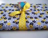 XL -Black and Yellow Flowered Flannel Receiving Blanket or Nursing Cover