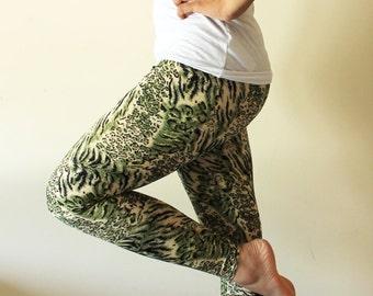 Funky green animal print leggings/ pants  - Size Medium - Kezbirdie