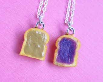Miniature Peanut Butter and Jelly Best Friend Couples Necklaces - Set of 2 - Peanut Butter & Grape Jelly