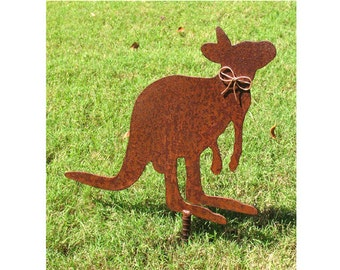 Kangaroo Metal Garden Stake - Metal Yard Art - Metal Garden Art - Rustic - Rusty
