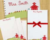 Stationery Set with Notepad, Cards and Journal - Mrs. Bird Teacher School House