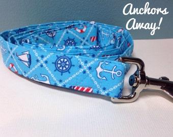Nautical Dog Leash // Anchor Dog Leash // Blue Nautical Dog Leash // Sailboat Dog Leash // Beach Dog Leash // Blue Dog Leash